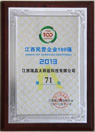 2013年11月,公司列2013江西民营企业100强第71位。