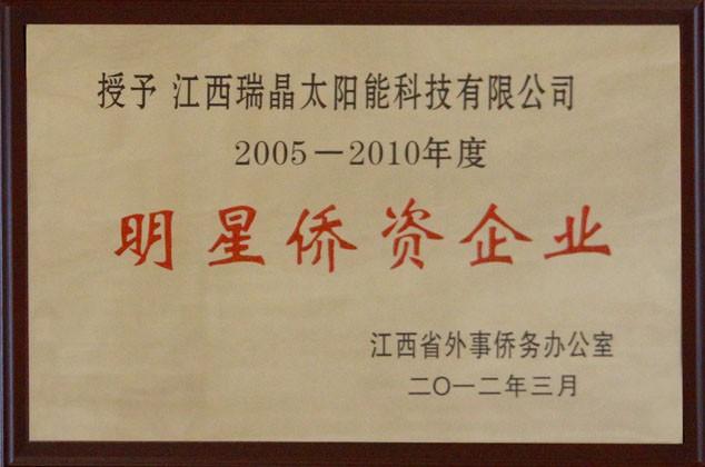 """2012年3月,公司荣获2005-2010年度""""明星侨资企业""""称号。"""