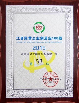 2015年10月,公司位列2015年度江西民营企业制造业100强第53位。
