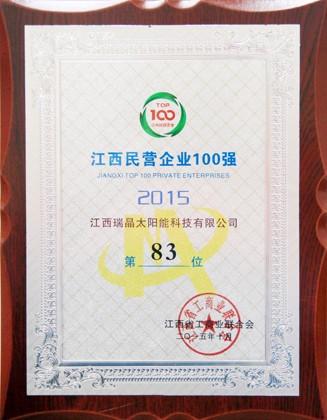 2015年10月,公司位列2015年度江西民营企业100强第83位。