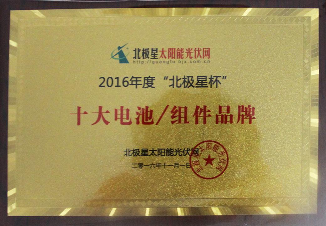 """2016年11月,公司荣获2016""""北极星杯""""十大太阳能电池/组件品牌。"""